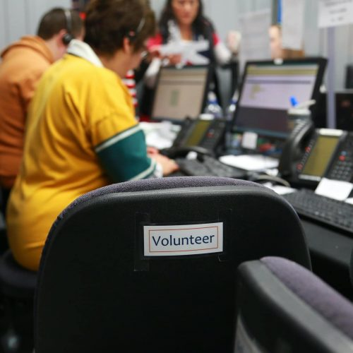 Volunteers in a room